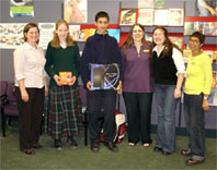 Staff from Christchurch City Libraries with the Grand Prize winners.