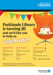 Parklands Library 10th Anniversary poster