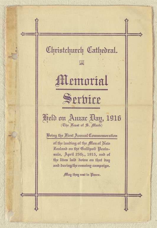 Memorial service held on Anzac Day, 1916 - Christchurch City Libraries