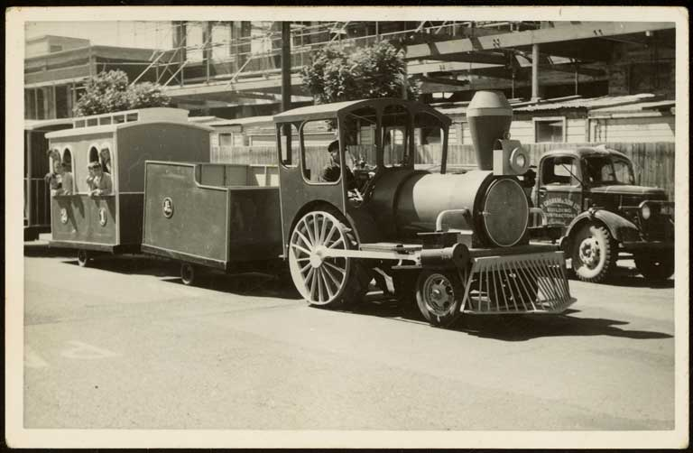 Thumbnail Image of Train float and carriages, Hay's Ltd Christmas pageant