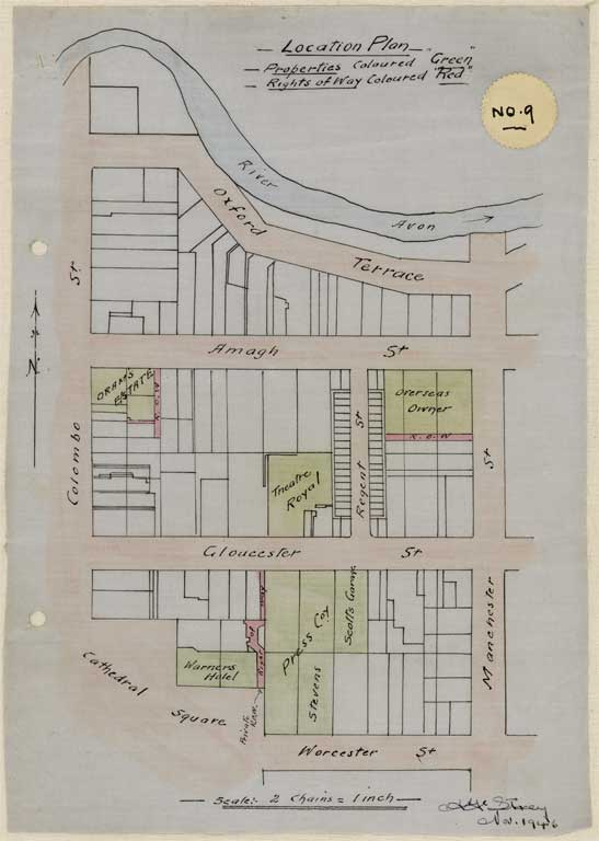 Thumbnail Image of No. 9. Location plan to scale showing locations Gloucester and Worcester Streets and Cathedral Square