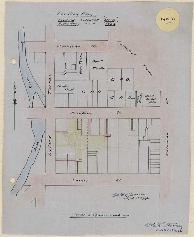 Thumbnail Image of No. 11. Location plan to scale showing location Hereford St, Cashel Street and Oxford Terrace