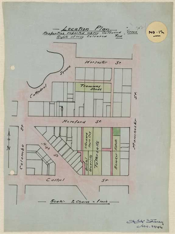 Thumbnail Image of No. 12. Location plan to scale showing location Hereford Street