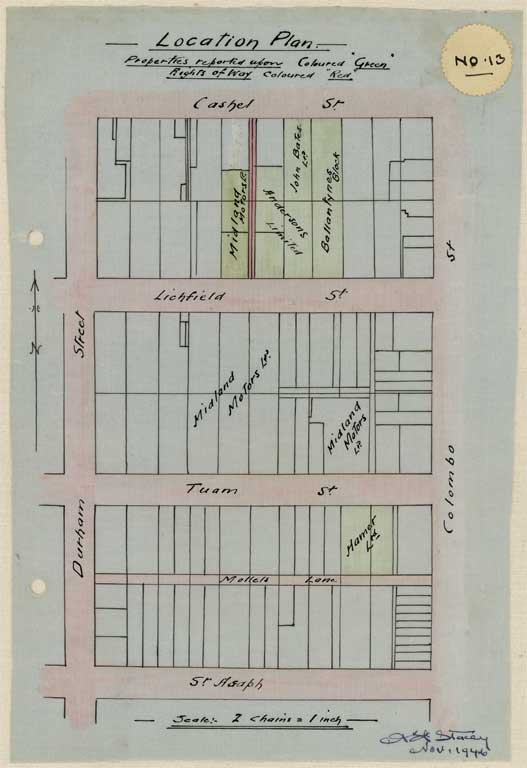 Thumbnail Image of No. 13. Location plan to scale showing locations Lichfield Street and Tuam Street