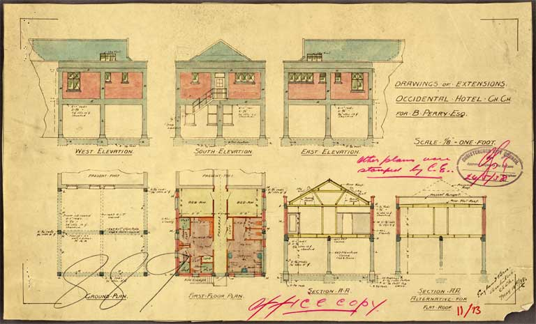 Image of Drawings of extensions Occidental Hotel