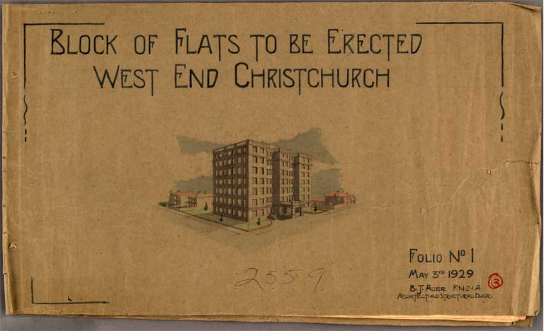 Image of Block of Flats to be Erected West End Christchurch