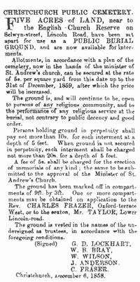 Addington Cemetery newspaper announcement, 1858