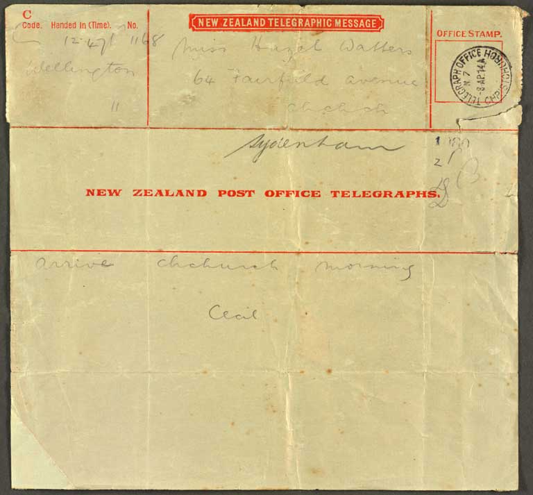 Image of [Telegram to Miss Hazel Watters]