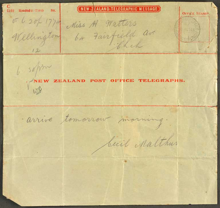 Image of [Telegram to Miss H Watters]