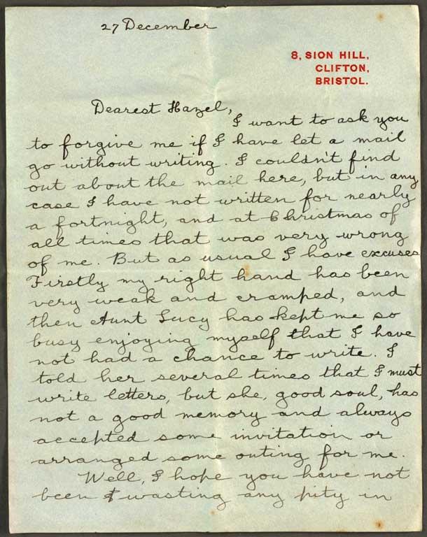 Letter To Hazel 27 December 1916 Cecil Malthus World War I