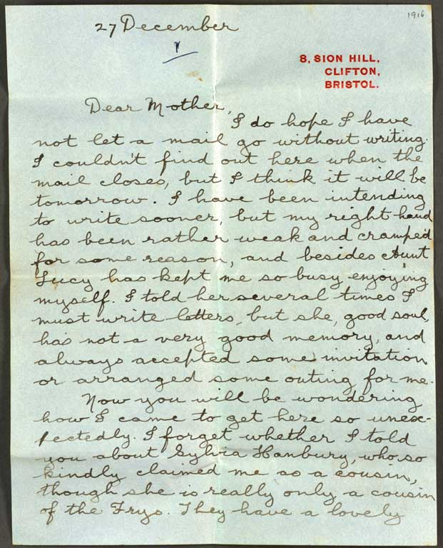 Letter to cecils mother 27 december 1916 cecil malthus letter to cecils mother spiritdancerdesigns Choice Image