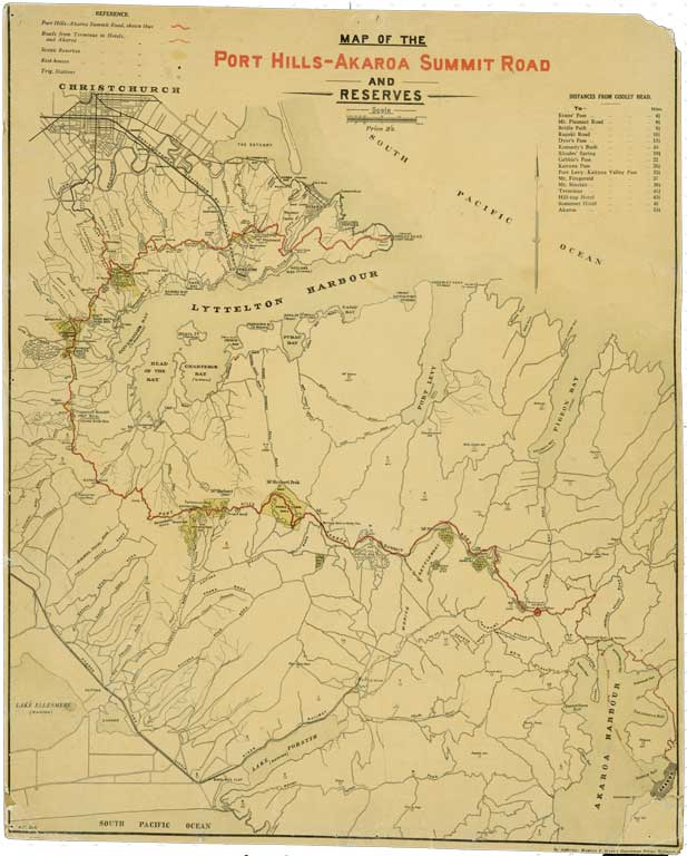 Image of Map of the Port Hills-Akaroa Summit Road and reserves