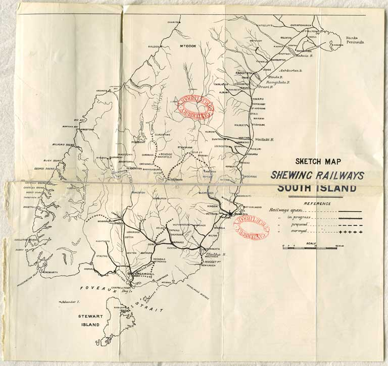 Image of Sketch map shewing railways, South Island