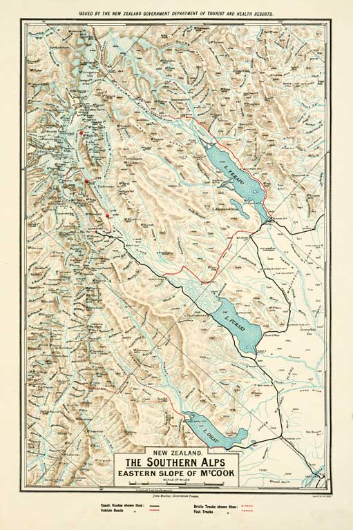 Southern Alps New Zealand Map.New Zealand The Southern Alps Eastern Slope Of Mt Cook 1904