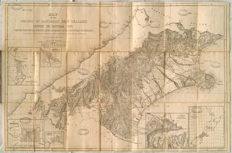 Image of Map of the Province of Canterbury, New Zealand shewing the pasturage runs