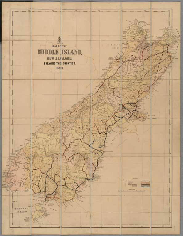 Image of Map of the Middle Island, New Zealand, shewing the counties
