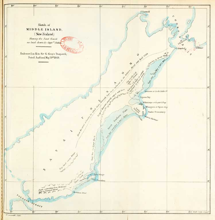 Sketch of Middle Island (New Zealand) shewing the East Coast as laid down by Captn. Stokes 1850