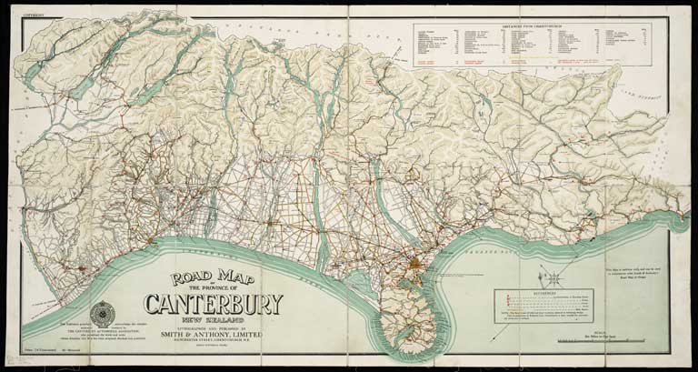 Road map of the province of Canterbury New Zealand ca 1910