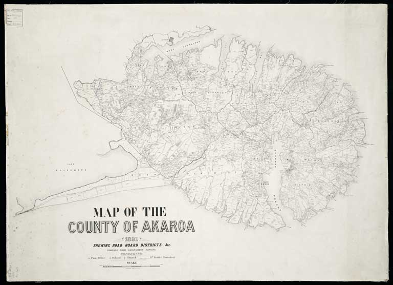 Image of Map of the County of Akaroa, 1891, shewing Road Board districts etc.