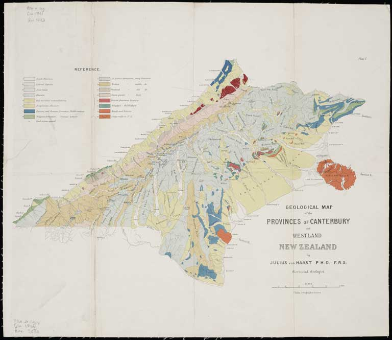 Map Of Canterbury New Zealand.Geological Map Of The Provinces Of Canterbury And Westland Ca