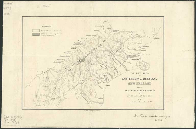 New Zealand Provinces Map.The Provinces Of Canterbury And Westland New Zealand During The