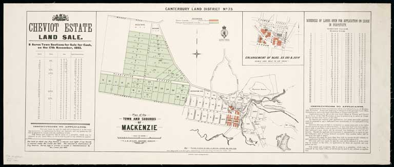 Image of Canterbury Land District. No. 73 : plan of the town and suburbs of Mackenzie.