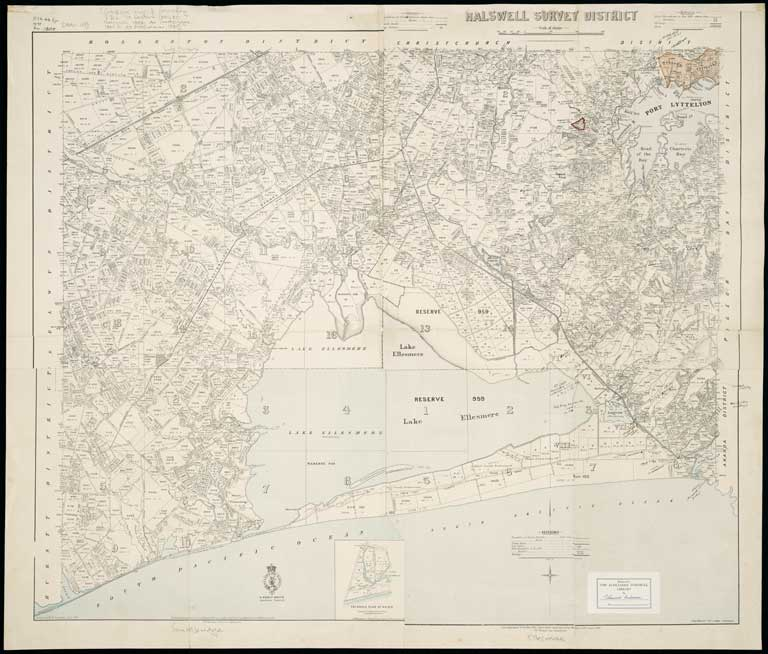 Image of [Composite map of following SD's] : [79 Leeston, 1890: 80 Halswell, 1893: 94 Southbridge, 1897 & 95 Ellesmere, 1899].
