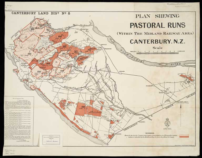 Image of Canterbury Land District. No. 8 : pastoral runs within the Midland Railway area