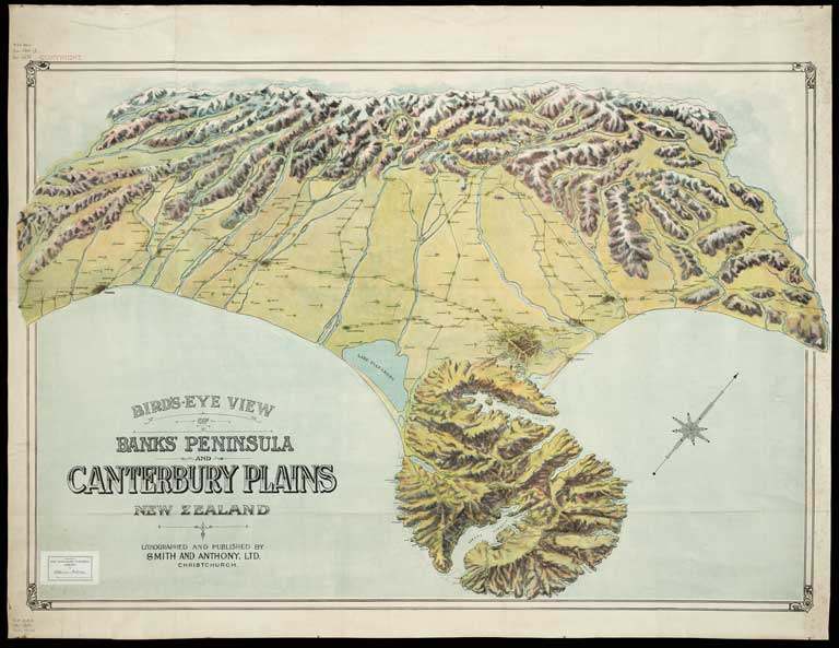 Image of Bird's eye view of Banks Peninsula and Canterbury Plains