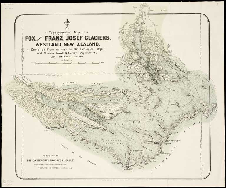 New Zealand Topographic Map.Topographical Map Of Fox And Franz Josef Glaciers Westland New