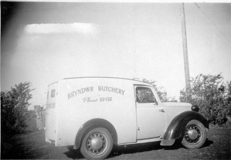 The 1948 Austin 8 delivery van used by the Bryndwr Butchery, Normans Road, Bryndwr