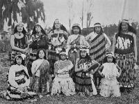 The poi dancers who entertained during the visit of His Excellency the Governor, Lord Plunket (1864-1920), to Tuahiwi Pa, Kaiapoi