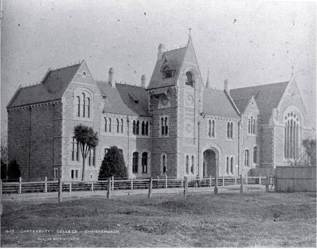 Canterbury College, Christchurch, showing clock tower and Great Hall [ca. 1882]  CCL PhotoCD 1, IMG0012