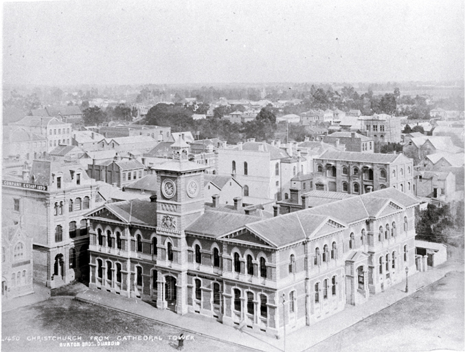 Cathedral Square from the Cathedral tower, showing the Post Office built in 1879