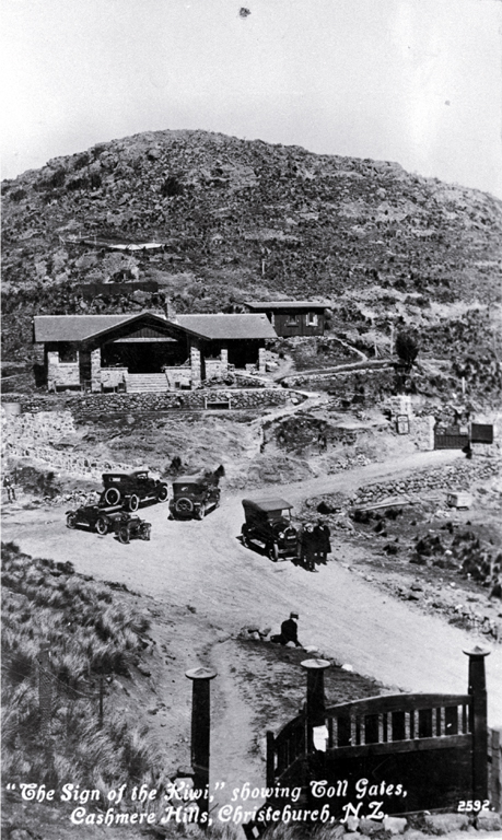 Sign of the Kiwi, Port Hills, Christchurch, showing toll gates [ca. 1930]