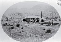 Saw mill at Pigeon Bay George Holmes' sawmill set up to cut timber under contract for the Lyttelton Tunnel [ca. 1865]