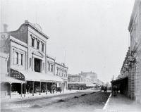 Cashel Street, looking west across Colombo Street past Beaths towards Hobday and Co. and Ballantyne's drapery stores