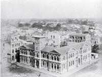 Cathedral Square from the Cathedral tower, showing Post Office built in 1879