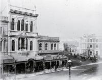 High Street, looking east down Cashel Street Milner & Thompsons' music shop, Inglis Building, Union Steam Ship Co.