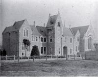 Canterbury College, Christchurch, showing clock tower and Great Hall - 1882