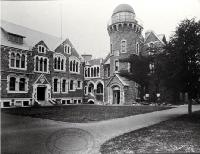 Photo of The Botany and Physics buildings and the Observatory of Canterbury College, University of New Zealand [ca. 1919], now the Christchurch Arts' Centre