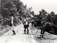 Members of the Pioneer Cycling Club, the Pioneers, on the West Coast Road - 1885 Detail