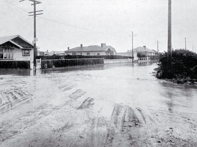 Junction of Innes Road and Rutland Street, flooded on 17 April 1925