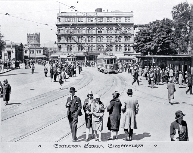 Trams in Cathedral Square, Christchurch