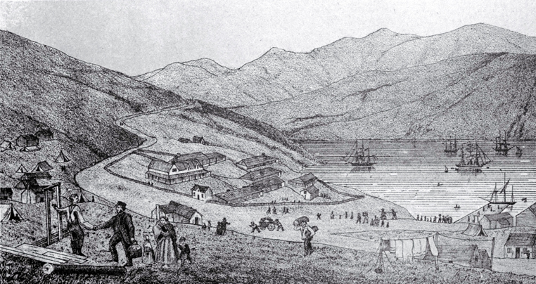 Port Lyttelton, showing the first four ships and emigrants landing from the Cressy, December 28th 1850