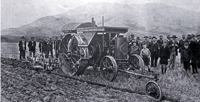 A trial of a Jelbart oil tractor at Mr C.H. Ensor's White Rock Station