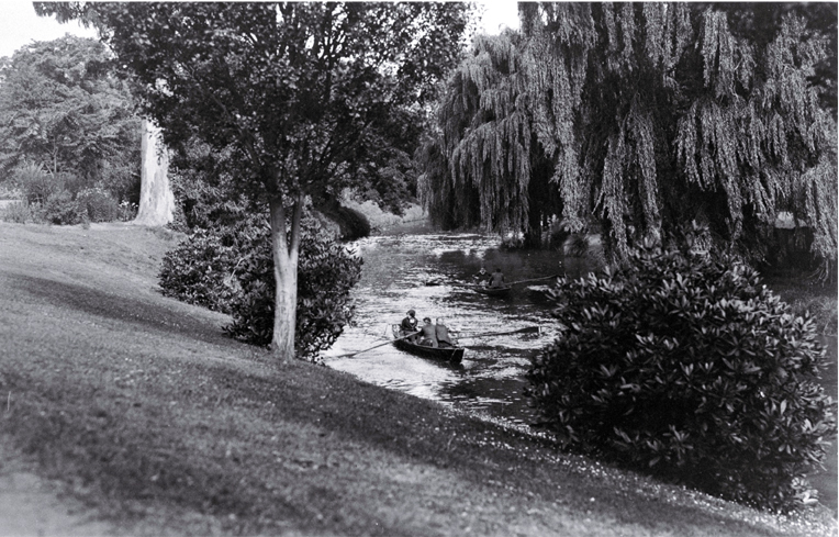 Schoolboys rowing along the Avon River where it flows through the Botanic Gardens