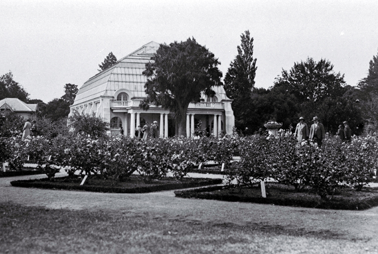 Conservatories and rose garden in the Christchurch Botanic Gardens