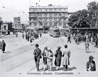Trams in Cathedral Square, Christchurch [1931]