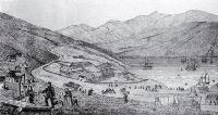 Port Lyttelton, showing the first four ships and emigrants landing from the Cressy, December 28th 1850 - detail